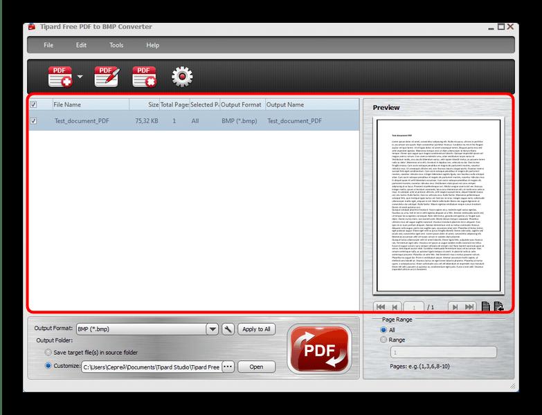 ПДФ-файл, загруженный для преобразования в Tipard PDF to BMP Converter