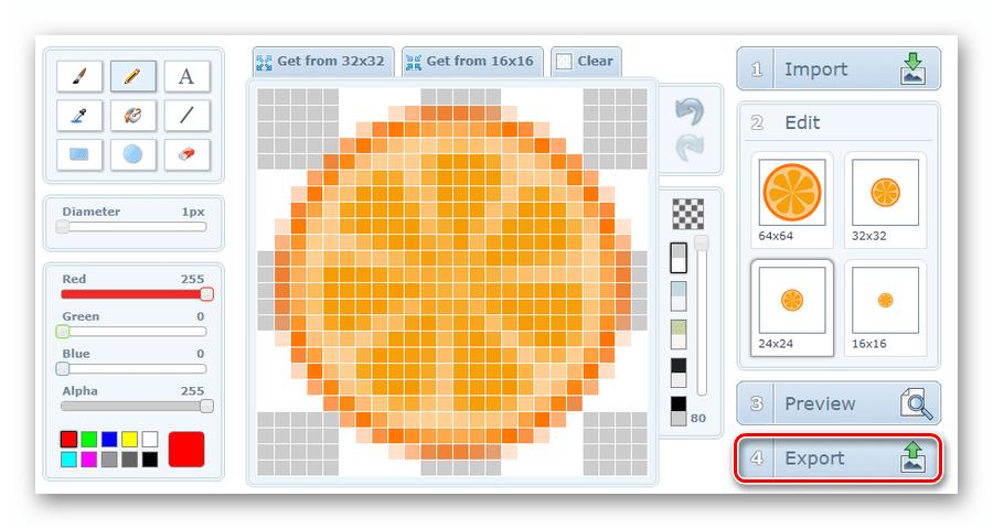 Переход к скачиванию готовой фавиконки с онлайн-сервиса X-Icon Editor