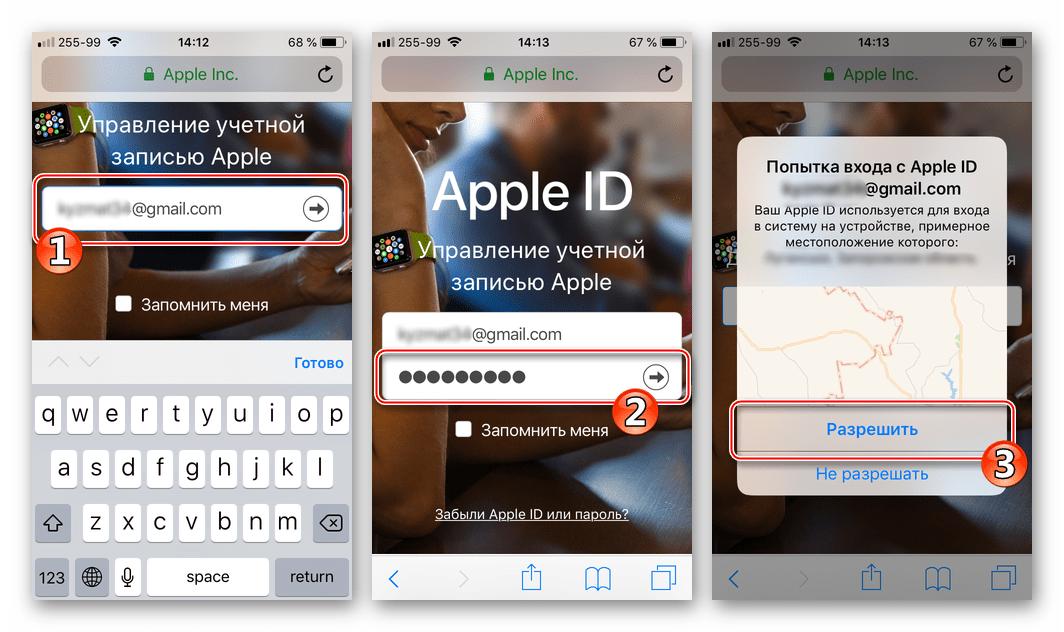 Почта iCloud через Gmail для iPhone авторизация на странице управления Apple ID