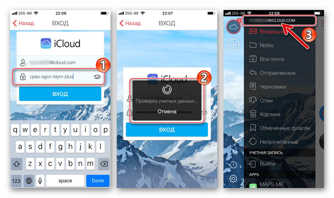 Почта iCloud использование для входа пароля, созданного на странице настройки Apple ID