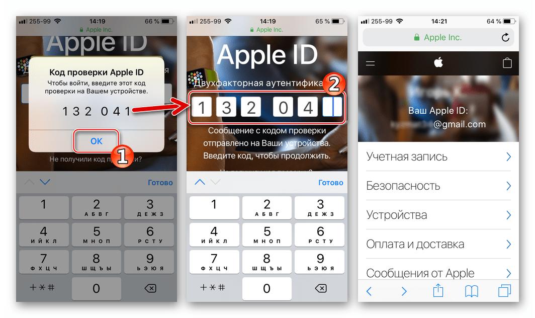 Почта iCloud в Gmail для iPhone ввод кода проверки для доступа к управлению Apple ID