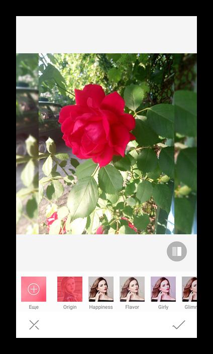 Применение эффектов для фото в Candy Selfie