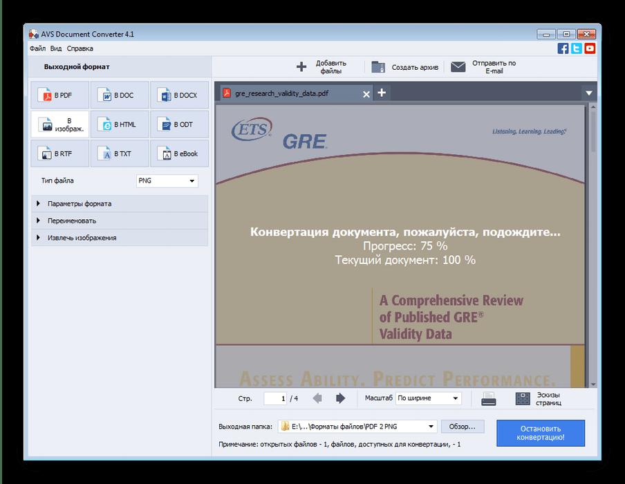 Прогресс преобразования PDF в PNG через AVS Document Converter