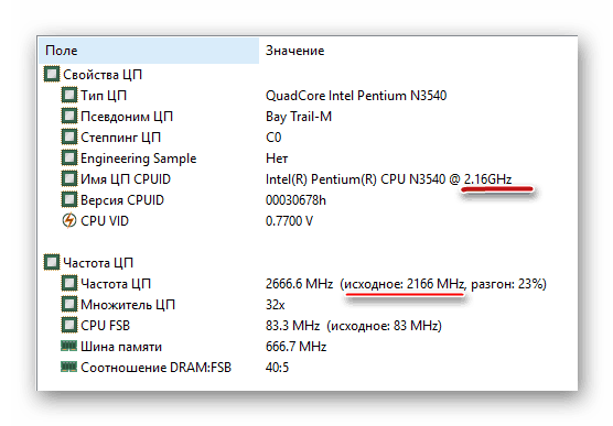 Просмотр частоты процессора в АИДА64