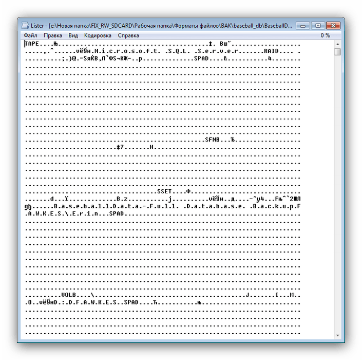 Просмотра файла типа BAK в утилите Lister встроенной в Total Commander