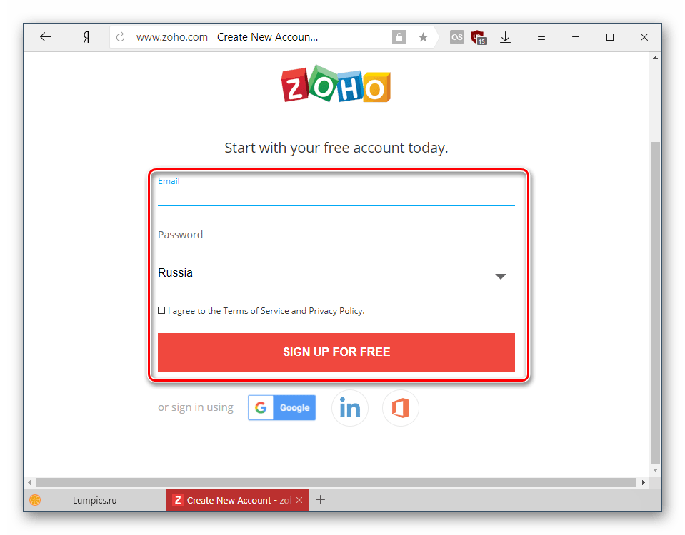 Процедура регистрации в Zoho Docs