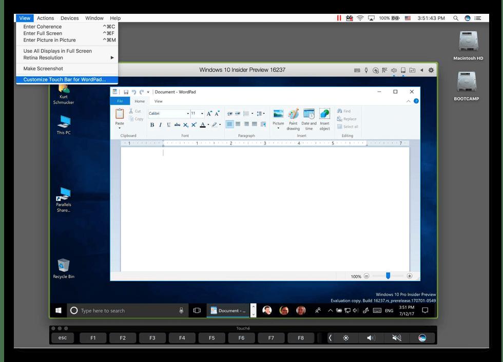 Рабочий стол виртуальной машины Parallels Desktop для mac OS