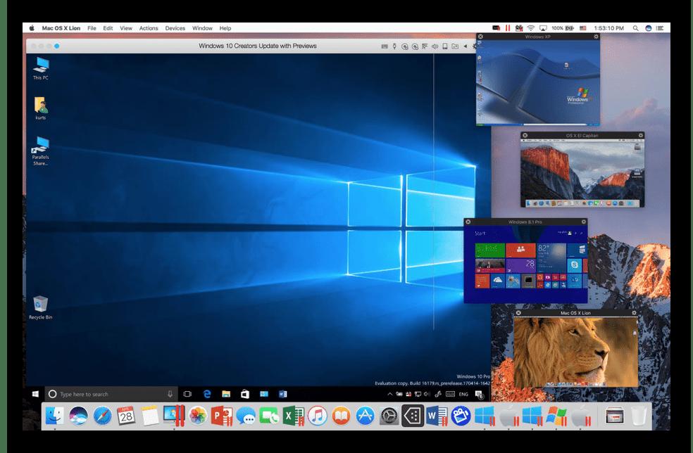 Режим Картинка в картинке на виртуальной машине Parallels Desktop для macOS