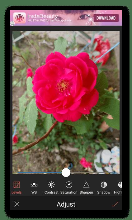 Цветокоррекция фото в приложении Selfie