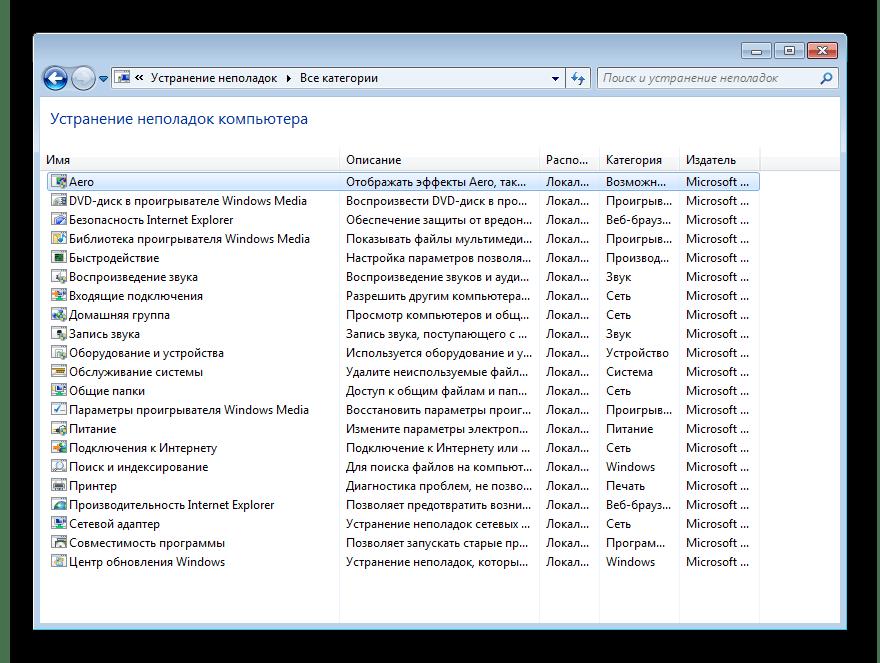 Все категории Средства устранения неполадок в Windows 7