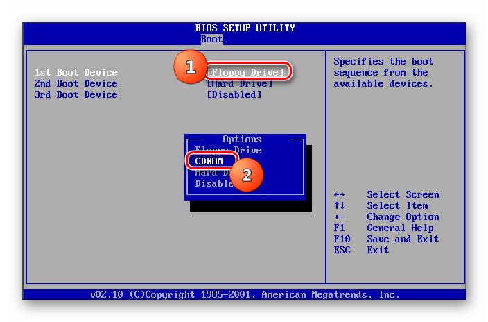 Выбор CDROM первым загрузочным устройством в разделе Boot в BIOS в Windows 7