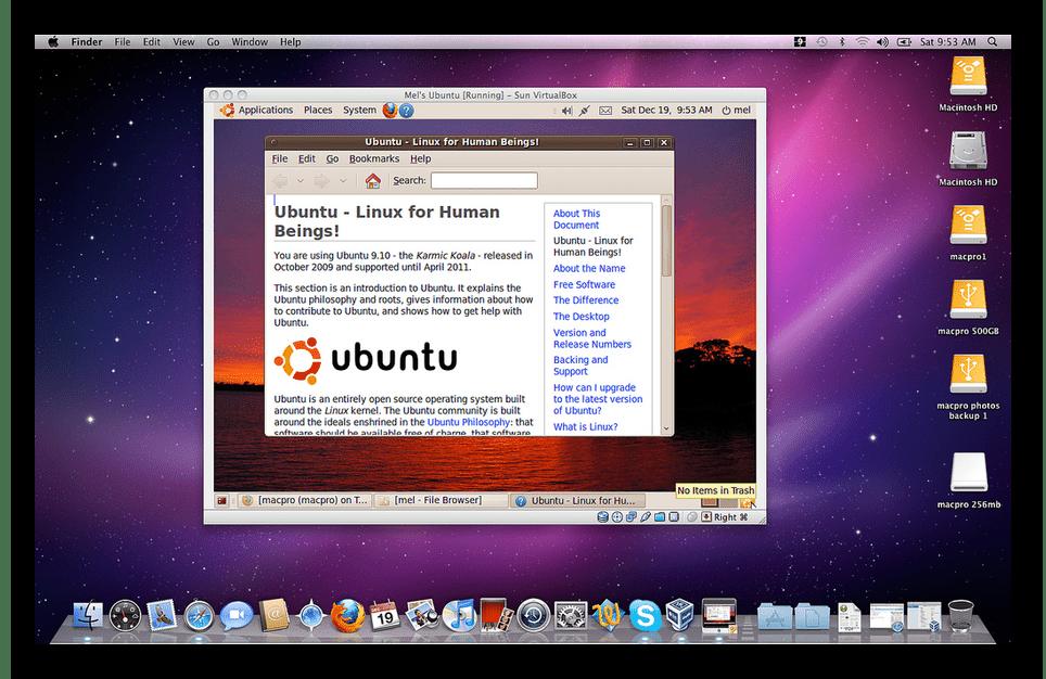 Запуск Ubuntu в среде виртуальной машины VirtualBox на macOS