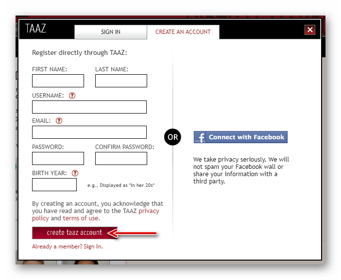 Форма регистрации аккаунта в онлайн-сервисе Taaz Virtual Makeover