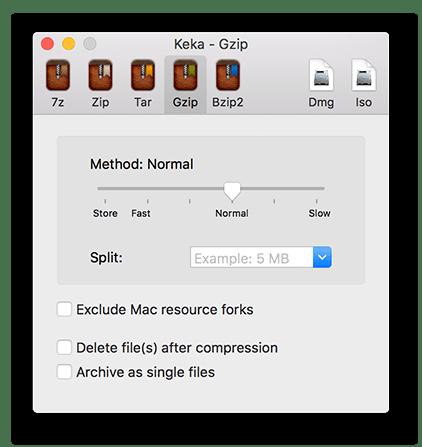 Главное меню архиватора Keka для macOS