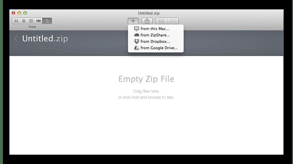 Главное окно архиватора WinZip Mac для macOS