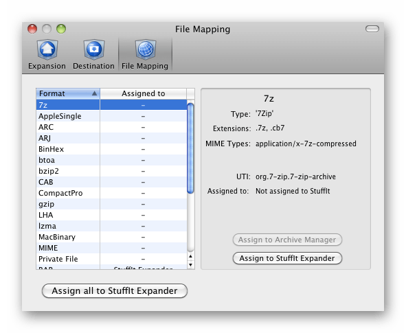 Интерфейс архиватора StuffIt Expander для macOS