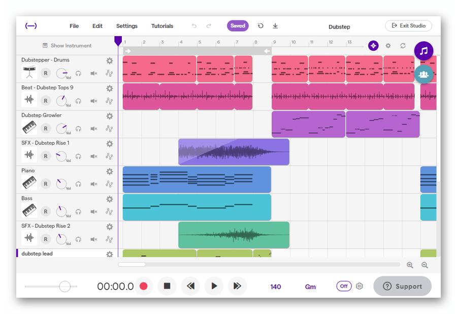 Интерфейс веб-приложения Soundtrap