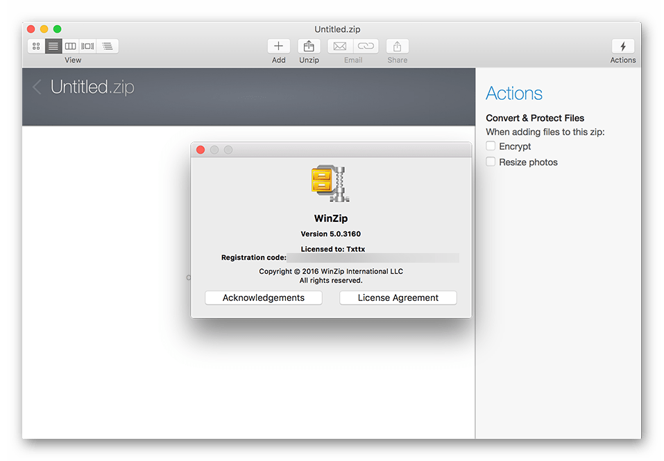 Использование архиватора WinZip Mac для macOS