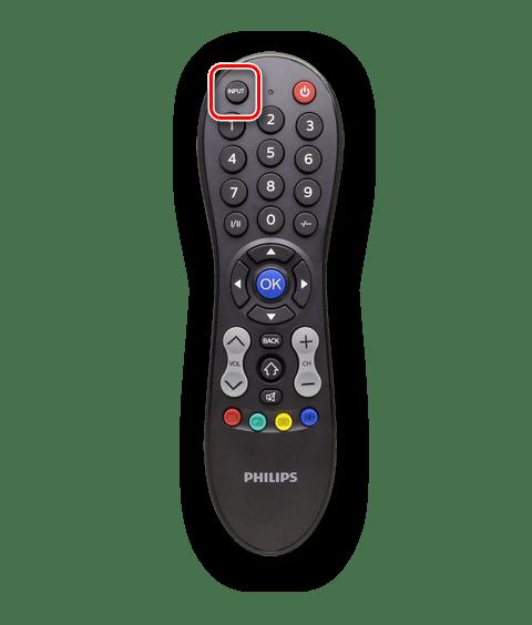 Использование кнопки Input на ПУ телевизора