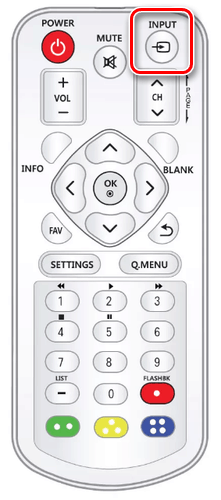 Использование кнопки Input на ПДУ телевизора