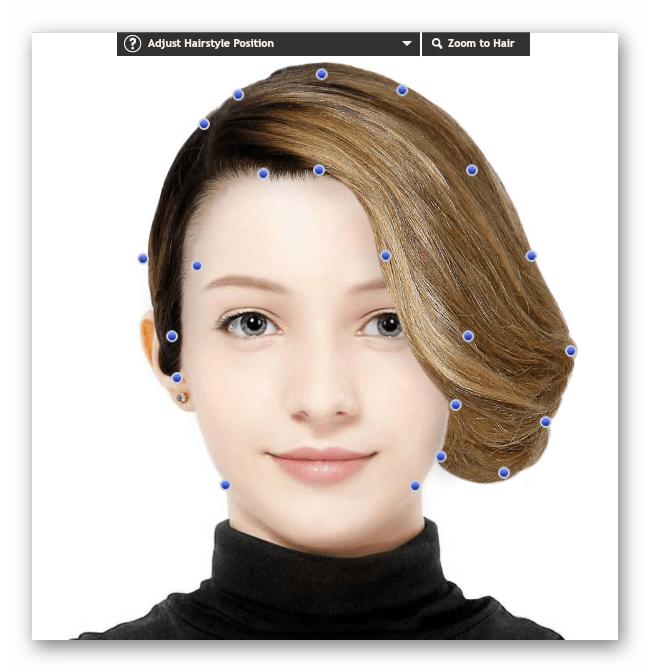 Изменение формы прически в онлайн-сервисе TAAZ Virtual Makeover