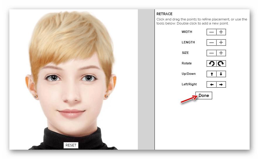 Настройка прически в веб-приложении Makeover