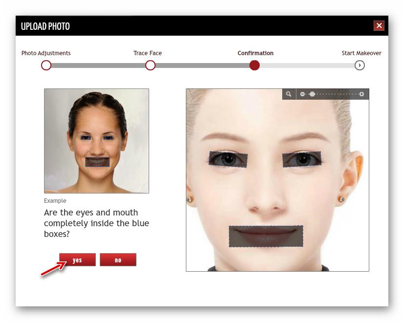 Настройка расположения ключевых элементов на фотографии в онлайн-сервисе TAAZ Virtual Makeover