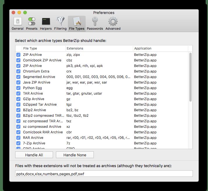 Настройки архиватора BetterZip для macOS