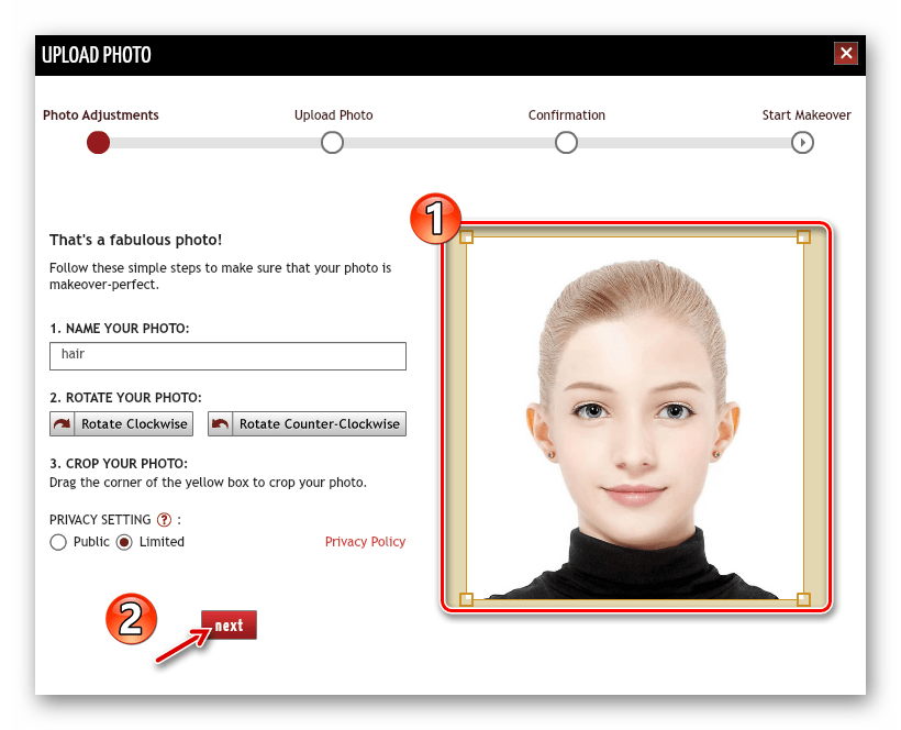 Обрезка загруженной фотографии в онлайн-сервисе TAAZ Virtual Makeover