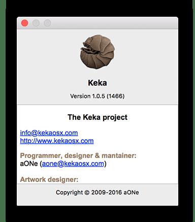 Окно сведегний об архиваторе Keka для macOS