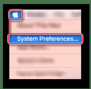 Открытие раздела System Preferences в меню Apple на mac OS