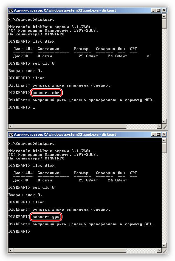 Отличия в командах для конвертирования форматов дисков в Командной строке