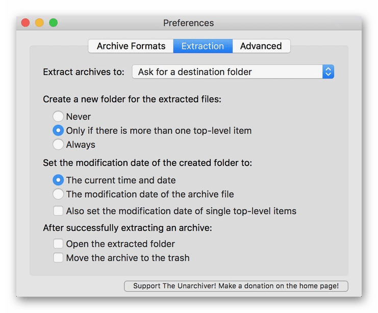 Параметры архиватора The Unarchiver для macOS