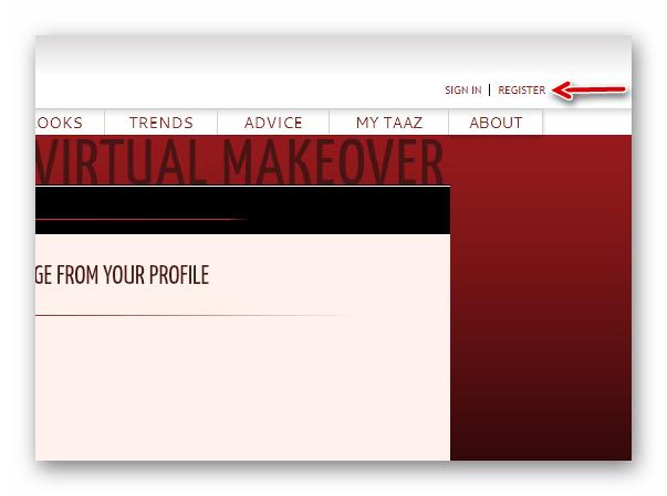 Переход к форме регистрации аккаунта в TAAZ Virtual Makeover