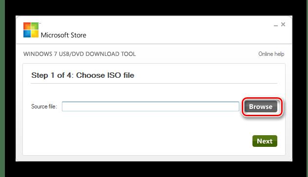 Переход к выбору файла образа операционной системы в окне утилиты Windows 7 USB DVD Download Tool