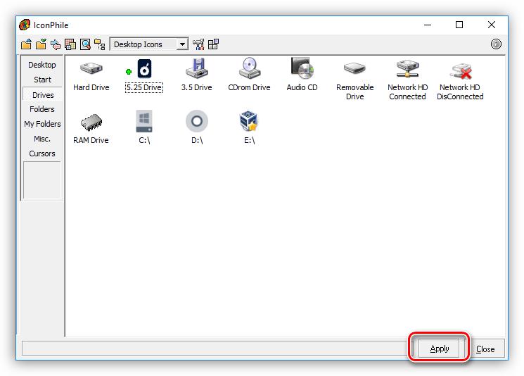 Применение изменений при установке иконок в программе IconPhile