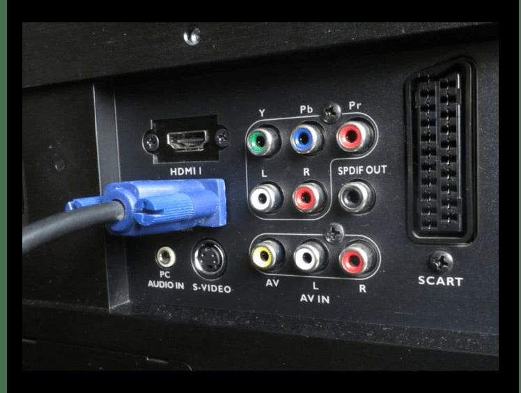 Пример правильно подключенного VGA-кабеля на ТВ
