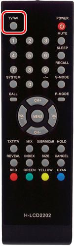 Пример пульта от телевизора с кнопкой AV