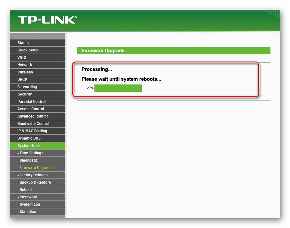 Процесс перепрошивки на роутере ТП-Линк