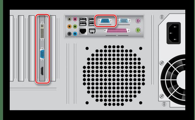 Процесс подключения видеокабеля к системному блоку