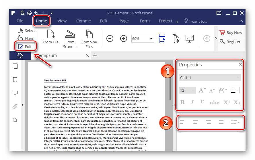 Раздел редактирования текста в программе PdfElement 6
