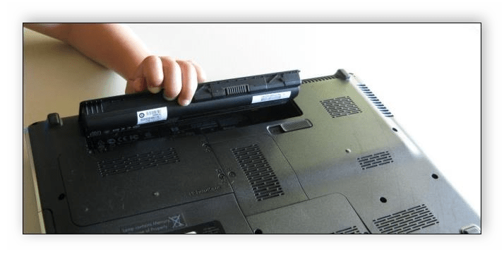Снятие батареи ноутбука