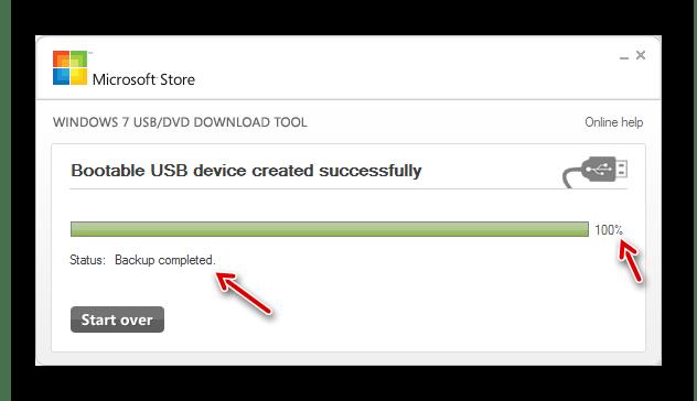 Создание загрузочной флешки завершено в окне утилиты Windows 7 USB DVD Download Tool