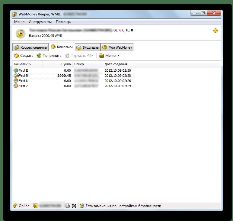 Список кошельков в окне программы WebMoney Keeper