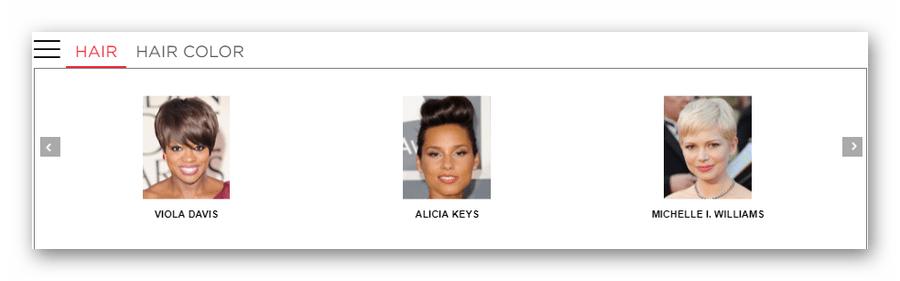 Список модельных стрижек в онлайн-сервисе Makeover