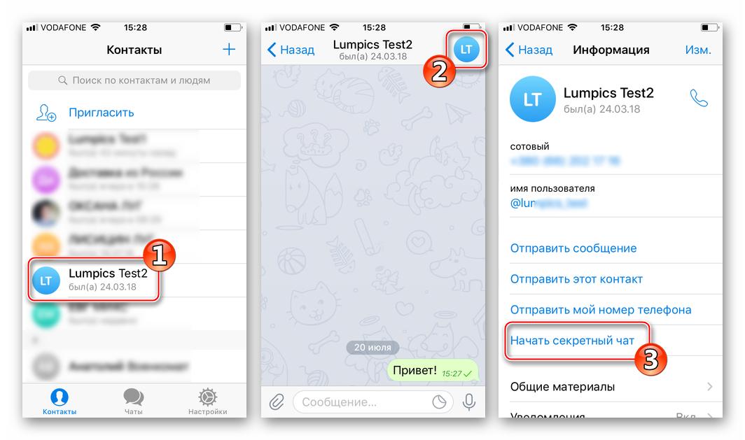 Telegram для iOS экран чата - Информация о контакте