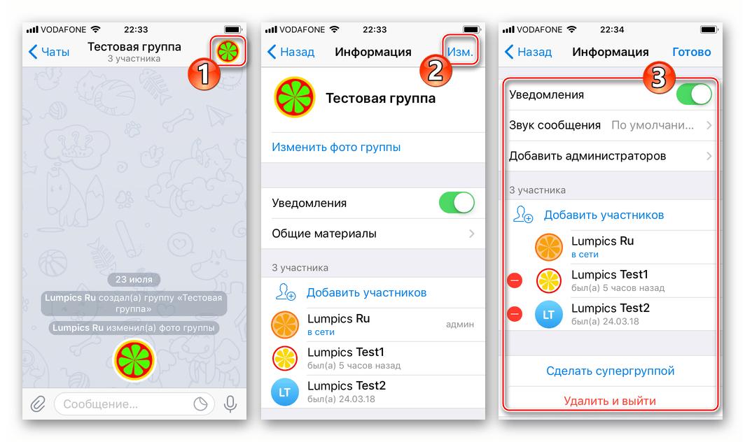 Telegram для iPhone управление группой