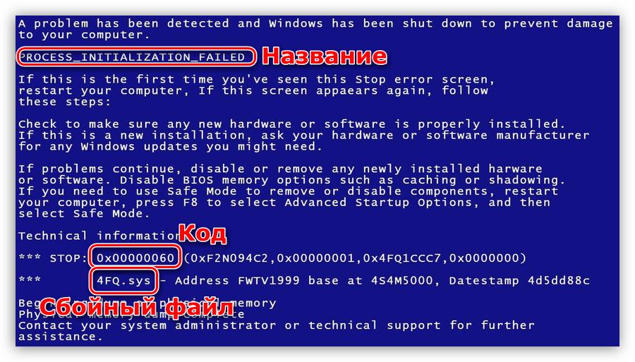 Устранение причин возникновения синих экранов смерти в Windows