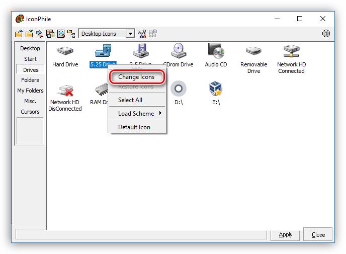 Выбор элемента для изменения иконки в программе IconPhile