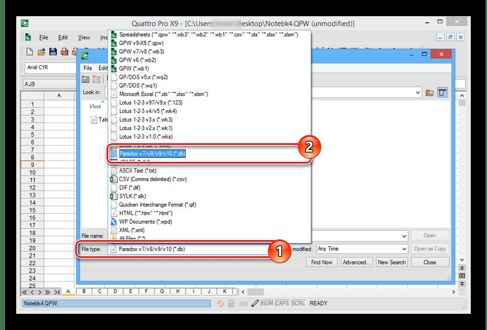 Выбор расширения DB в Quattro Pro